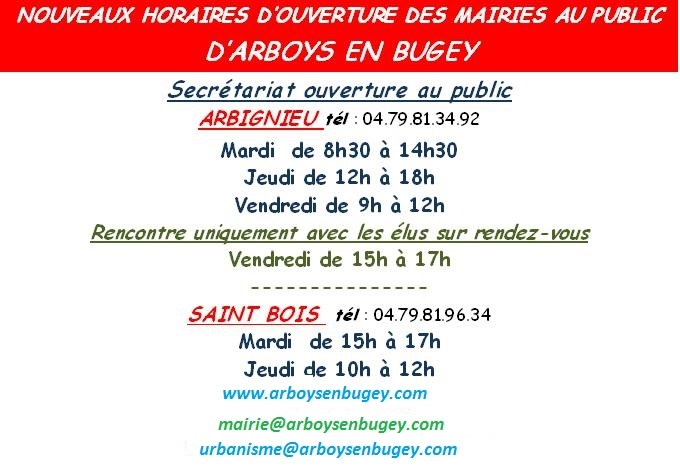 Horaires mairies 1